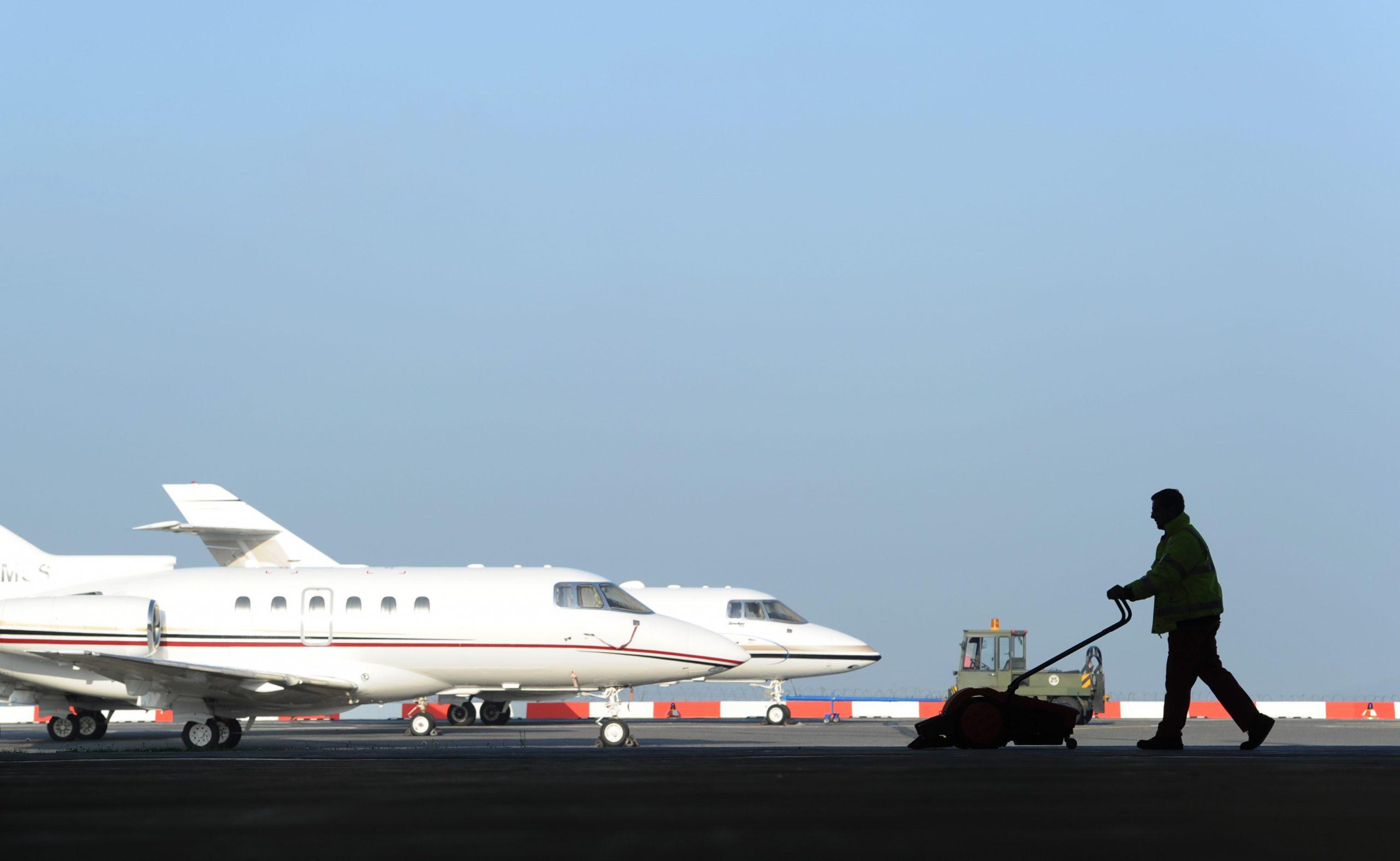 Aircraft handling at BBA maintenance facility